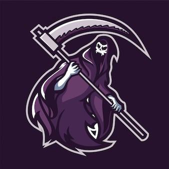 Grim reaper segurando o modelo de logotipo de mascote de jogos scythe esport