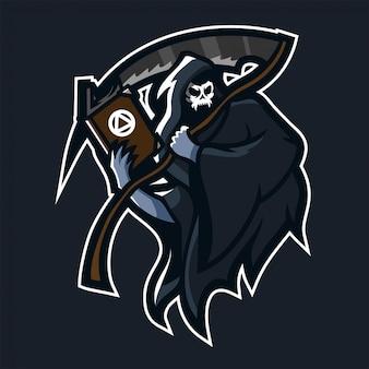 Grim reaper segurando o modelo de logotipo de mascote de jogos scythe / livro de esport