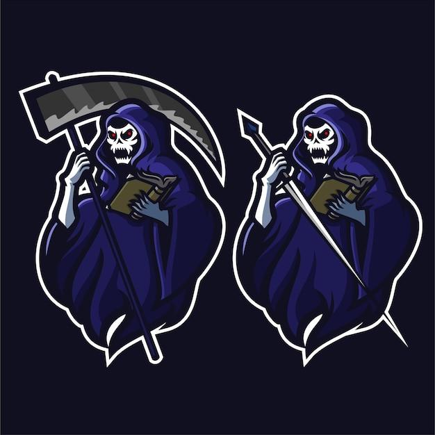 Grim reaper, segurando, scythe / sword / book, esport jogos, mascote, logotipo, modelo