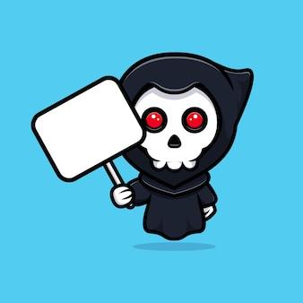 Grim reaper segurando segurando a página de texto em branco. bonitinho