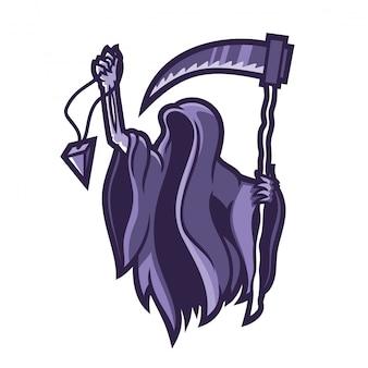 Grim reaper segurando segurando o modelo de logotipo de mascote de jogos scythe esport