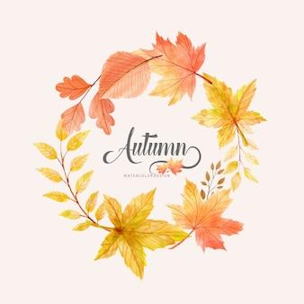 Grinalda aquarela ilustração de outono