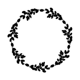 Grinalda botânica. coroa redonda de ramos de salgueiro