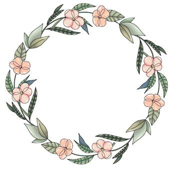 Grinalda com flores cor de rosa e folhas verdes