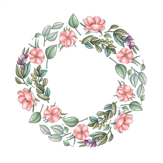 Grinalda com flores de anêmona rosa e ramos de eucalipto