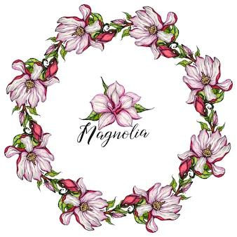 Grinalda com flores de magnólia