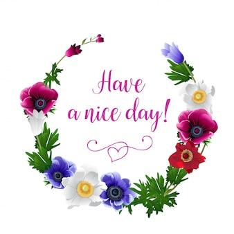 Grinalda com flores desenhadas à mão de flores de anêmona