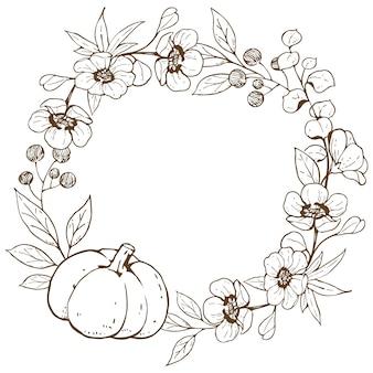 Grinalda com flores e abóbora doodle