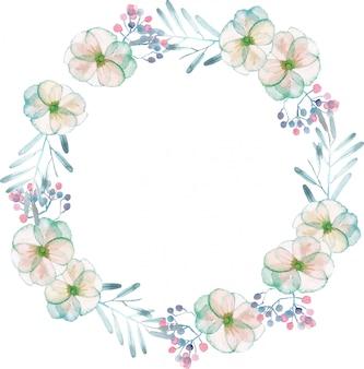 Grinalda com flores e folhas de concurso de aquarela