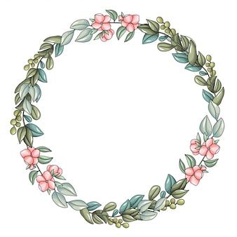 Grinalda com flores rosa e ramos de eucalipto