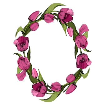 Grinalda com tulipas cor de rosa.