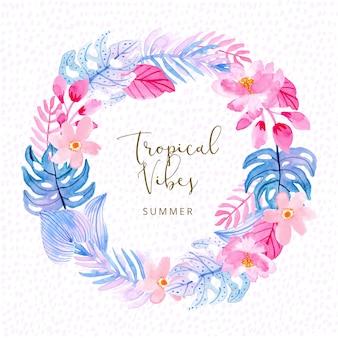 Grinalda de aquarela de planta de verão tropical rosa azul