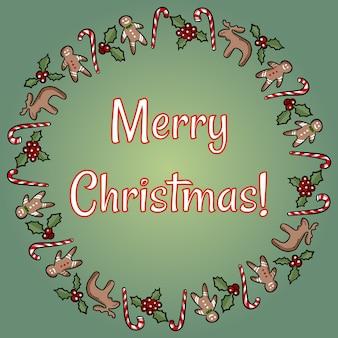 Grinalda de azevinho e doces de feliz natal