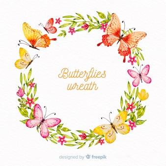 Grinalda de borboletas em aquarela
