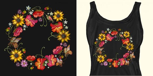 Grinalda de bordado de flores