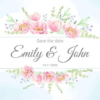 Grinalda de buquê de flores de peônia rosa aquarela