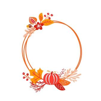 Grinalda de buquê outono de quadro de vetor