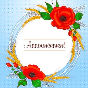 Grinalda de cartão redondo romântico com papoulas e trigo