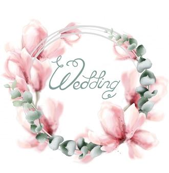 Grinalda de casamento com flores rosa em aquarela