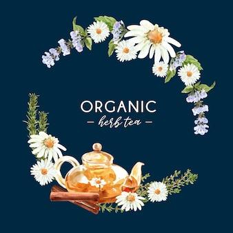 Grinalda de chá de ervas com anis, alecrim, canela ilustração em aquarela.