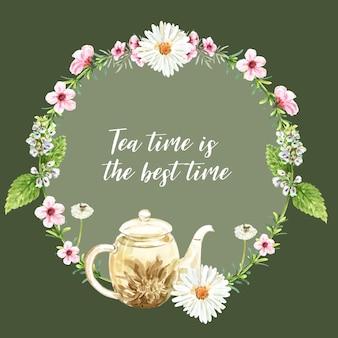 Grinalda de chá de ervas com aster, bule de chá, folha ilustração aquarela.