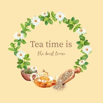 Grinalda de chá de ervas com aster, hortelã, camomila, ilustração de aquarela de pote de chá.