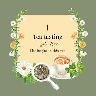 Grinalda de chá de ervas com hortelã, áster, limão, ilustração em aquarela de crisântemo.
