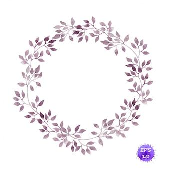 Grinalda de círculo vintage com folhas de louro. aguarela