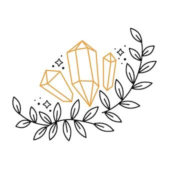 Grinalda de composição de contorno floral boho com pedras preciosas, estrelas, folhas de ramo. elementos gráficos celestiais com plantas. ilustração de doodle em vetor astrologia mística. design para cartão, pôster, convite