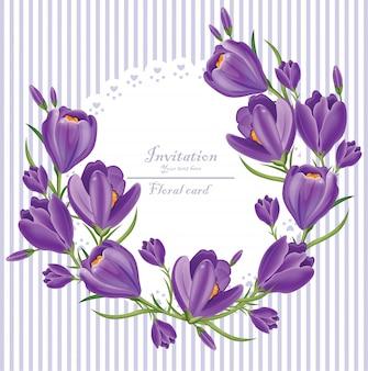 Grinalda de convite flores ultra violeta açafrão