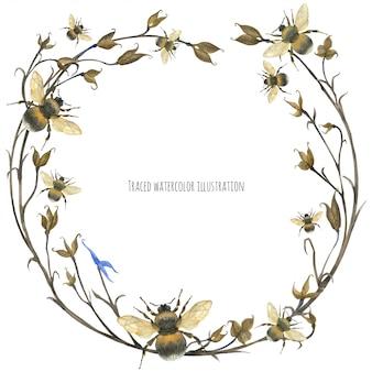 Grinalda de design ecológico com abelha e plantas