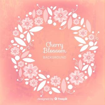 Grinalda de flor de cerejeira plana
