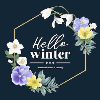 Grinalda de flor de inverno com galanthus, anêmona