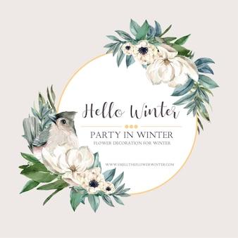 Grinalda de flor de inverno com pássaros, florais, foliages