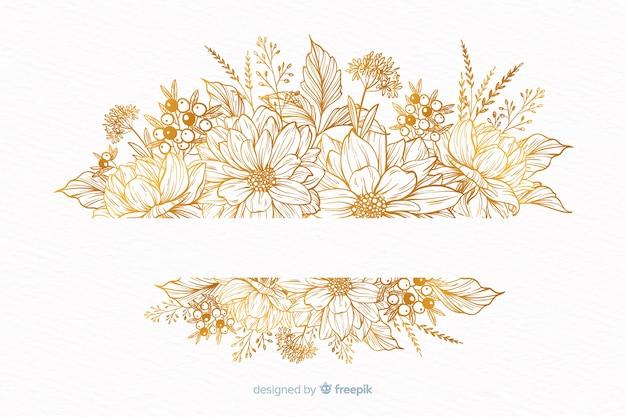 Grinalda de flor decorativa desenhada de mão