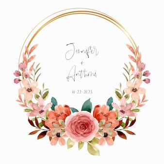 Grinalda de flor rosa aquarela com círculo de ouro