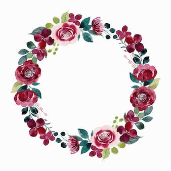 Grinalda de flor vermelha com aquarela
