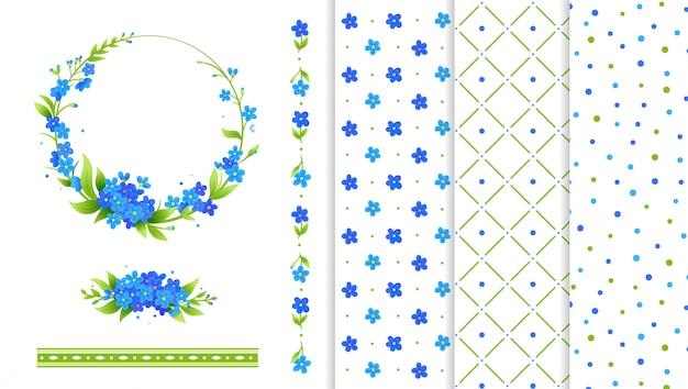 Grinalda de flores azuis, bordas de flores e padrões
