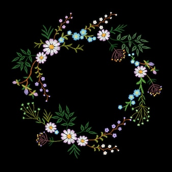 Grinalda de flores bordadas vintage. moda elegante delicado