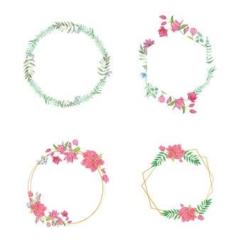 Grinalda de flores coloridas elegante coleção floral