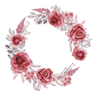 Grinalda de flores com borgonha e rosas vermelhas, folhas