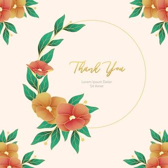 Grinalda de flores com cartão de agradecimento