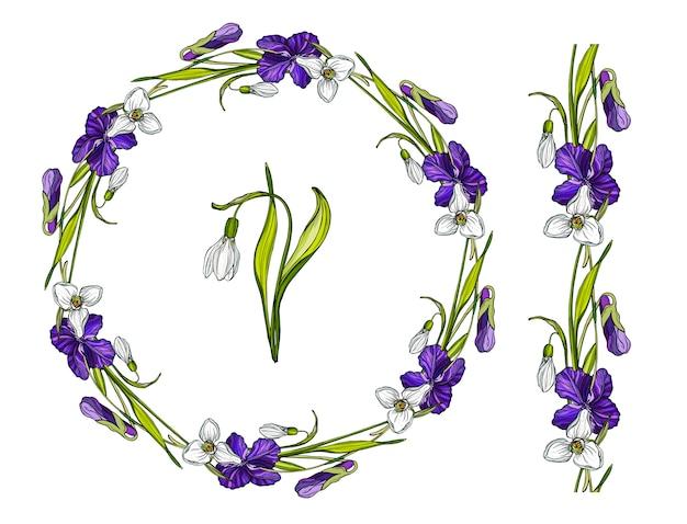 Grinalda de flores com flores da primavera.