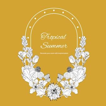 Grinalda de flores com ilustração tropical linha arte quadro romântico