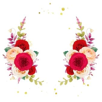 Grinalda de flores com rosas vermelhas