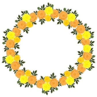 Grinalda de flores de calêndula isolada