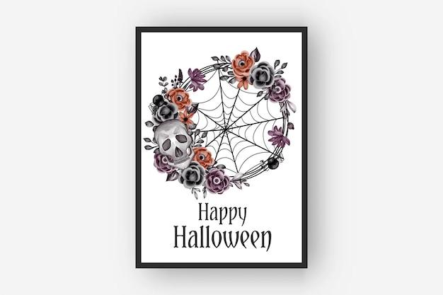 Grinalda de flores de halloween com ilustração em aquarela de caveira e aranha