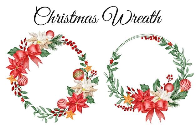 Grinalda de flores de natal feliz ano novo clipart floral