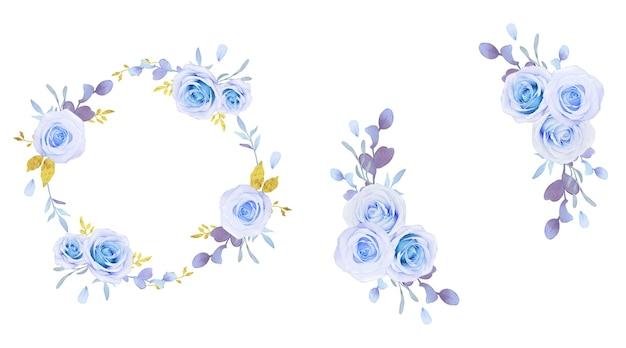 Grinalda de flores de rosas azuis aquarela