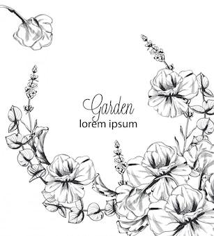 Grinalda de flores de verão linha arte fundo